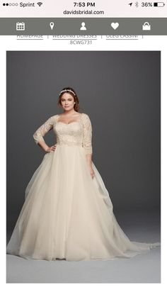 Oleg Cassini Plus Size three-quarter lace sleeves and a flattering  sweetheart neckline organza ball gown wedding dress available at David s  Bridal 04770f9aaad5