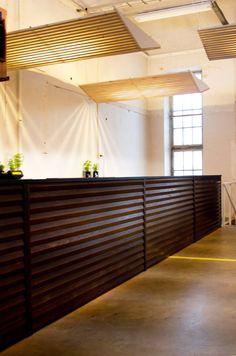 Restaurant in Flow Festival. Viiste solid wood panels and wooden lighting elements designed by Karell Design.