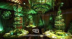 centerpiece christmas crystal garland dining flowers holiday inspirations lighting & projection reception round tables table setting tall centerpiece tent topiary color green