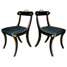 European Regency Chairs Early Century European Regency Chairs, detailed w/ brass ormolu Air Chair, Hollywood Regency, Georgian, Living Room Furniture, Dining Chairs, Interior Design, Affair, Sofas, Empire