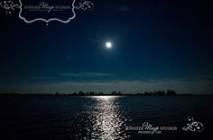 twilight moonshine over the water from Grenadier Island, Thousand Islands region near Cape Vincent, New York on Lake Ontario.