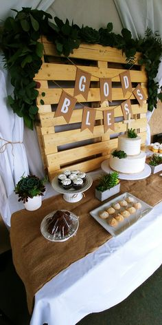 I like the idea for the main table Baptism Party Decorations, First Communion Decorations, First Communion Party, Baptism Favors, Baptism Invitations, Baptism Ideas, Balloon Decorations, Shower Invitations, Baptism Food