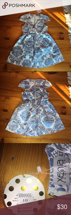 Xenia boutique dress ⭐️NWT⭐️ Gorgeous blue and white foil dress brand new with tags!!! NO TRADES❌ AUS size 10 = US size 6 (medium) PRICE IS FINAL xenia boutique Dresses Mini