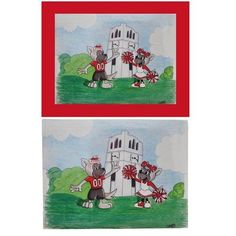 North Carolina State Wolfpack Hand Painted Mr & Ms Wuf Belltower Print. This cute hand painted picture features Mr & Ms Wuf cheering in front of the popular NC State Belltower!