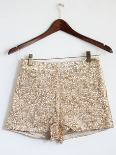 High Waist Gold Sequin Shorts.
