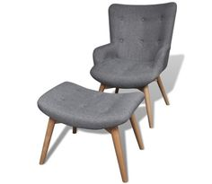 CJ Online Shop Armchair Footstool Combines Gray Fabric Sofa Wood Home Office Furniture Chaise Living Room Home Modern Upholstered x x Retro Armchair, Modern Armchair, Gray Armchair, Fabric Armchairs, Fabric Sofa, Gray Fabric, Small Armchairs, Upholstered Arm Chair, Chair And Ottoman