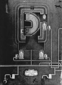"""""""Dante's Inferno: A Pocket Mural"""" by Louis C. Anderson, a rather wonderful and odd drawing of the Calutron process. From Manhattan District History, Book 5, """"Electromagnetic Project,"""" Volume 6."""