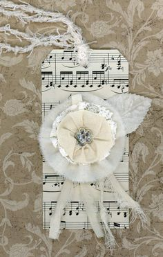 tattered rose gift tag with velvet leaf and vintage lace and rhinestone