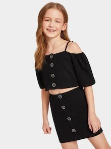 Kiddie Black Cold Shoulder Button Front Top And Skirt Cute Teenager Girls Clothing Kiddie Black Cold Shoulder Button Front Top And Skirt Cute Teenager Gi – gagokid Cute Girl Outfits, Kids Outfits Girls, Cute Outfits For Kids, Girls Fashion Clothes, Teen Fashion, Fashion Outfits, Dress Fashion, Camouflage Hoodie, Justice Clothing