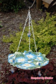 Spring Yard Art / Morning Glory Hanging Bird Feeder Butterfly Feeder / Outdoors Garden / Birds Bees