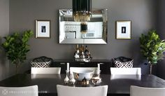 dining room, gray wall, mirror, black and white, symmetric