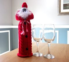 Made to Order This Christmas Wine bottle cover is knit in the style of a winter outfit, the bottle cover looking like an Aran jumper, complete Red Christmas, Christmas Time, Christmas Ideas, Christmas Gifts, Christmas Wine Bottles, Wine Bottle Covers, Handmade Crafts, Handmade Jewelry, Diy Gifts