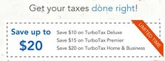 Extra $20 Off TurboTax 2015 All Items Coupon and Promo Codes   TurboTax Deluxe Price: $24.99, Save $30.00 TurboTax Premier Price: $39.99, Save $40.00 TurboTax Home & Business Price: $59.99, Save $45.00 Limit time offering, Renew or Upgrade. Extra $20 Off TurboTax 2015 All Items Coupon and Promo Codes It is your option to click the above link, after that the page will automatically turn to the right site where you can find the right product and then you can get it a