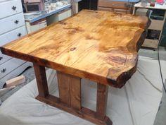 "3"" live edge pine slap dining room table"