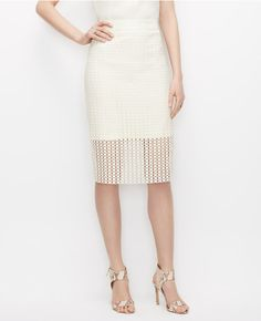 Primary Image of Petite Graphic Lace Pencil Skirt