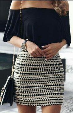Black off shoulder top + Aztec print skirt – Summer Fashion Fashion Mode, Fashion 2017, Look Fashion, Street Fashion, Fashion Outfits, Womens Fashion, Dress Fashion, Girl Fashion, 90s Fashion