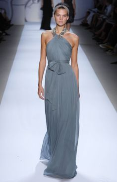 Monique LHuillier _ Love the gathering of this sheer silk chiffon fabrics, the slim silhouette, the sash. Wondering how low the back is cut. Dresses like this are good motivation for arm exercises!