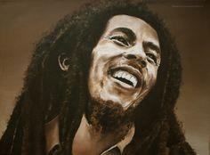 Schilderij Bob Marley. Olieverf. Daisy van Montfort.