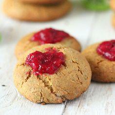 Cookie BlogHop: Pistachio Almond Cranberry Thumbprint Cookies. Vegan
