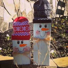 I made these snowmen out of 6x6.