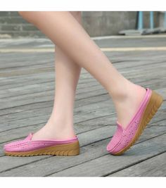 Women's #pink easy leather slip on shoe #loafers, hollow out, carving, Round toe design , casual, leisure occasions.