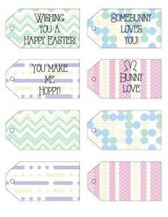 Free Easter Printables -- gift tags, banner & notecards