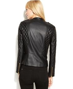 INC International Concepts Quilted Faux-Leather Motorcycle Jacket - Jackets & Blazers - Women - Macy's
