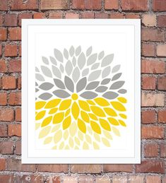 Flower Bursts Modern Home Wall Art Print - 8 x 10 and 11 x 14 Pink Coral, Mint, Gray, Yellow // Bedroom, Living Room, Bathroom, Kitchen