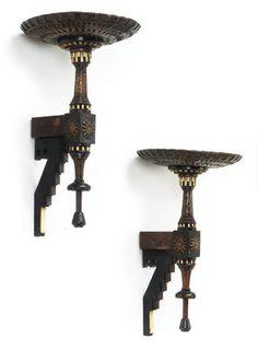 Wall Brackets Carlo Bugatti, 1900 Christie's Weird Furniture, Silver Furniture, Antique Furniture, Furniture Decor, Bugatti, Victorian Gothic Decor, Geometric Furniture, Art Nouveau Furniture, Steampunk