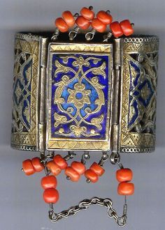 Cuff, front with enameling and coral , gilt silver Uzbekistan 19th c