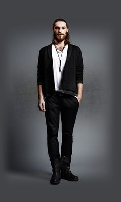 Diesel - Men's Apparel - Male White top, black jacket, black pants