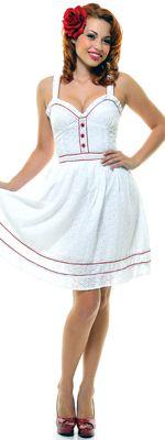 White Cotton Gilligan's Eyelets Swing Dress www.unique-vintage.com