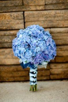 Snow White Disney wedding flowers   Bridal Bouquet of Blue Hydrangeas
