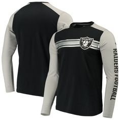 0f56b39c60b Oakland Raiders NFL Pro Line by Fanatics Branded Iconic Long Sleeve T-Shirt  – Black Heathered Gray