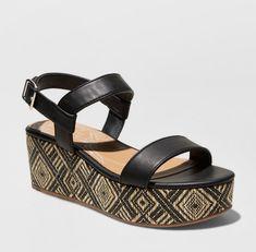 874bc12525 dv Dolce Vita Brynn Sandals Sz 9.5 Woven Raffia Tribal Black Platform Shoes  Heel #DolceVita