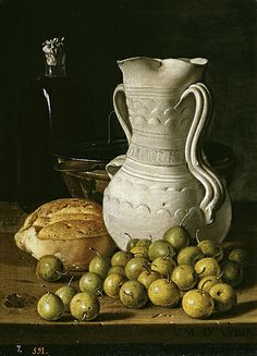 """Still Life w/ Green Olives & Jar"" -- 1760 -- Luis Melendez -- Spanish -- Oil on canvas -- The Prado, Madrid. Dutch Still Life, Still Life 2, Still Life Images, Still Life Drawing, Painting Still Life, Be Still, Spanish Painters, Spanish Artists, Juan Sanchez Cotan"