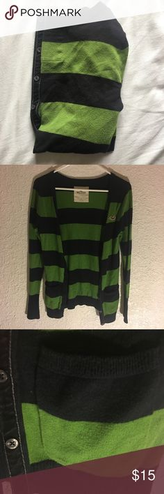 Black & Green Hollister Cardigan Perfect for the cool weather! Half button up cardigan with side pockets. In good condition, but it's just bot my size anymore. Hollister Jackets & Coats