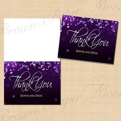 Purple Night Sky Save the Date Invitation RSVP and Thank