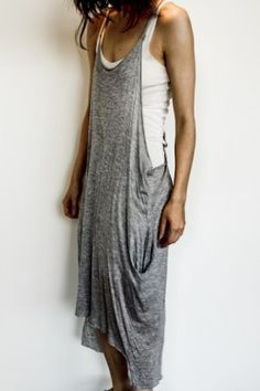 Oversized Silk Jersey Tank with Leather Straps  // Mandula