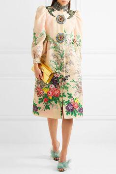 Gucci | Verzierter Mantel aus Cloqué mit Stickerei | NET-A-PORTER.COM
