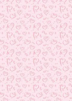 Valentines Day scrapbook paper - pink hearts-