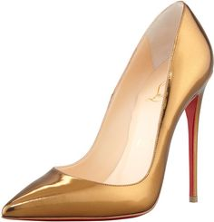 Christian Louboutin Gold So Kate Mirrored Leather Red Sole Pump Bronze