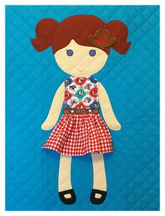 Paper Doll Blanket - Redhead with turquoise background and cowgirl outfit