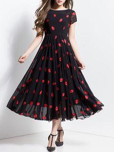 Black Abstract A-line Beach Maxi Dress