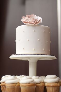 Love this sweet & simple cake/cupcake combo! Photo courtesy of The Emerics