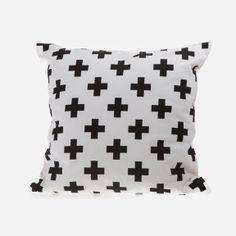 Zana - Swiss Cross Cushion Cover - Black
