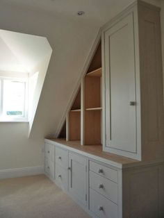 We specialise in designing, making and fitting of furniture for attic and under eaves cupboards to create bedrooms, dens and home offices. Under stairs cubp Loft Room, Bedroom Loft, Girls Bedroom, Eaves Bedroom, Fitted Bedroom Furniture, Fitted Bedrooms, Eaves Storage, Attic Storage, Attic Organization