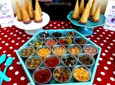 Display of toppings for ice cream social Bar Displays, Ice Cream Social, Ice Cream Toppings, Icecream Bar, Top Recipes, Food Presentation, Small Groups, Chicken Wings, Events
