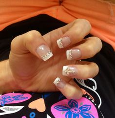 My Cross & Diamond French Nails! Cross Nails, French Nails, Diamond, Beauty, French Tips, Diamonds, Beauty Illustration, French Manicures