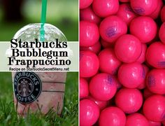 Starbucks Secret Menu Bubble Gum Frappuccino! Recipe: http://starbuckssecretmenu.net/starbucks-secret-menu-bubblegum-frappuccino/